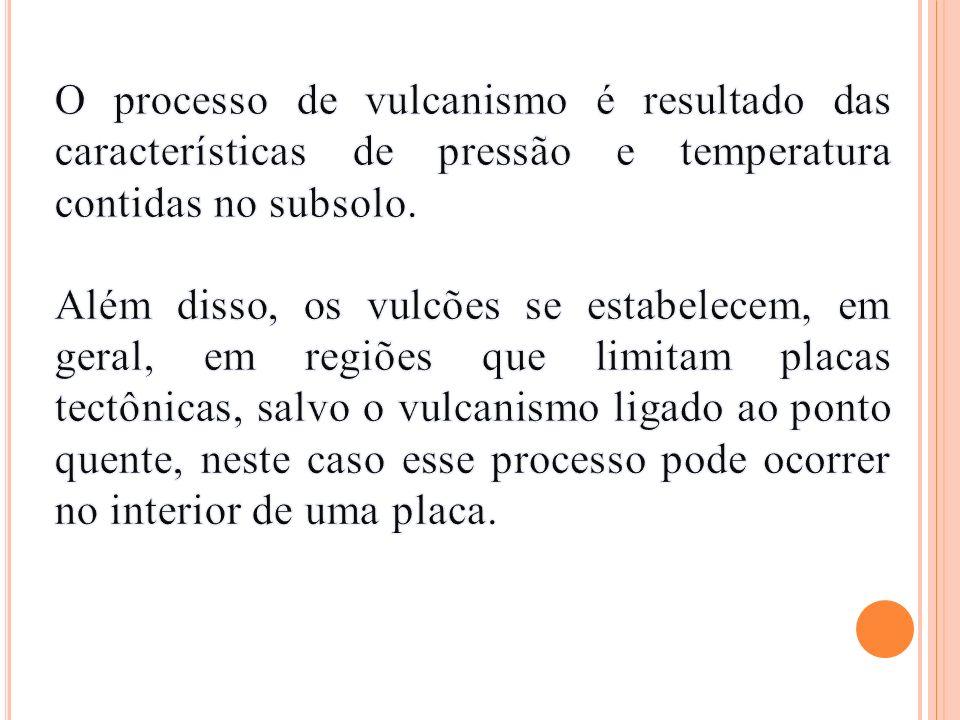 O processo de vulcanismo é resultado das características de pressão e temperatura contidas no subsolo.