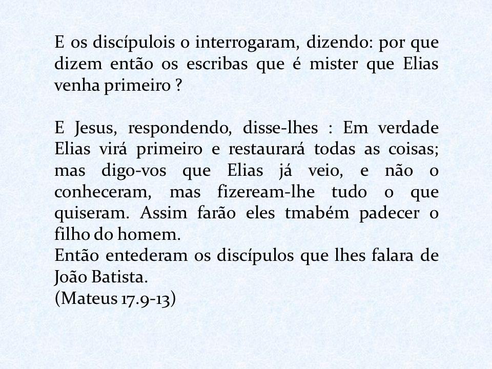 E os discípulois o interrogaram, dizendo: por que dizem então os escribas que é mister que Elias venha primeiro