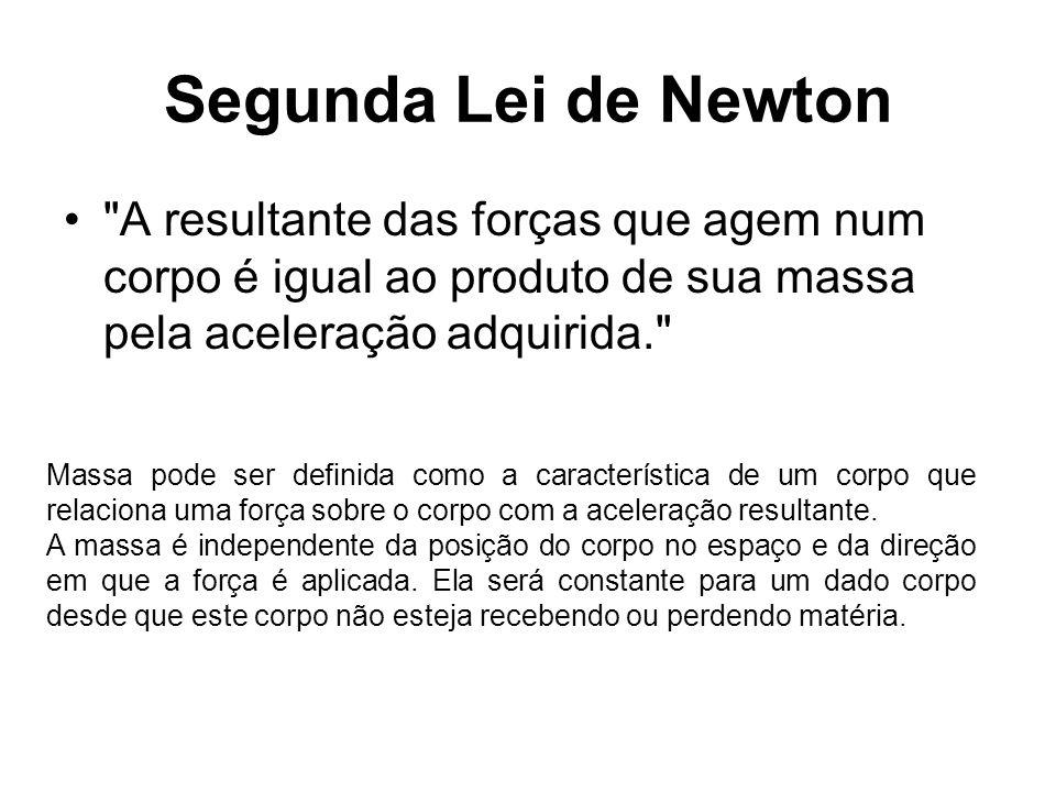 Segunda Lei de Newton A resultante das forças que agem num corpo é igual ao produto de sua massa pela aceleração adquirida.