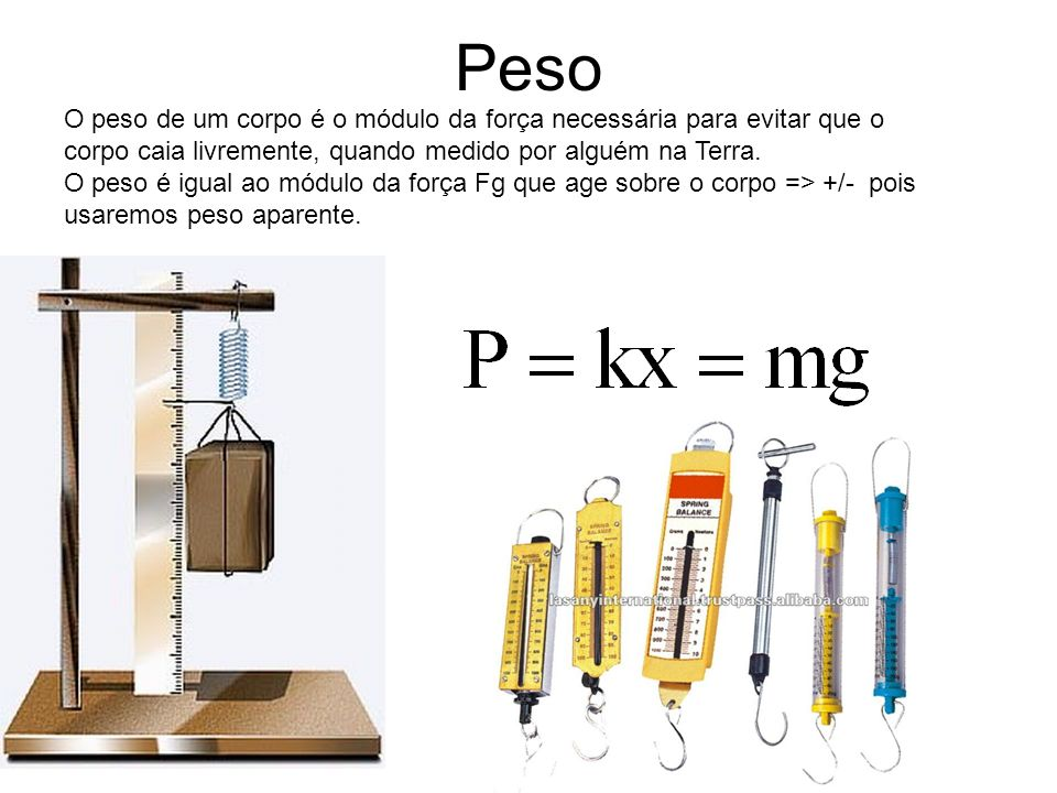 Peso O peso de um corpo é o módulo da força necessária para evitar que o corpo caia livremente, quando medido por alguém na Terra.