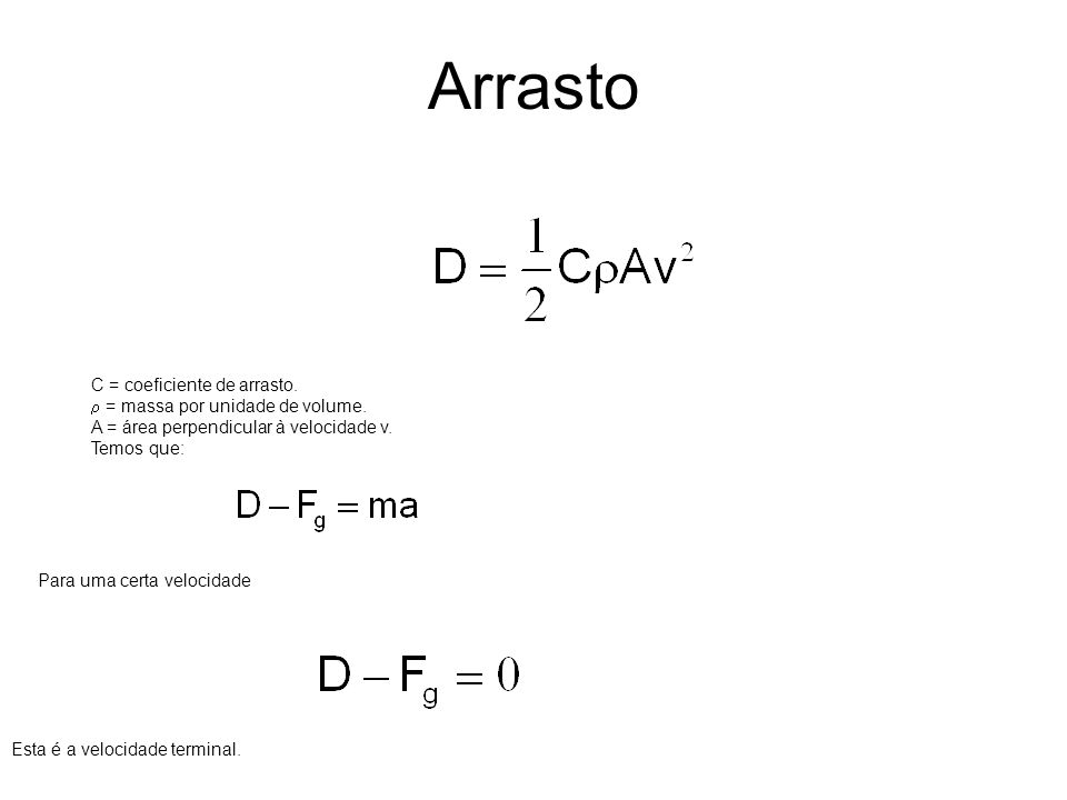 Arrasto C = coeficiente de arrasto. r = massa por unidade de volume.