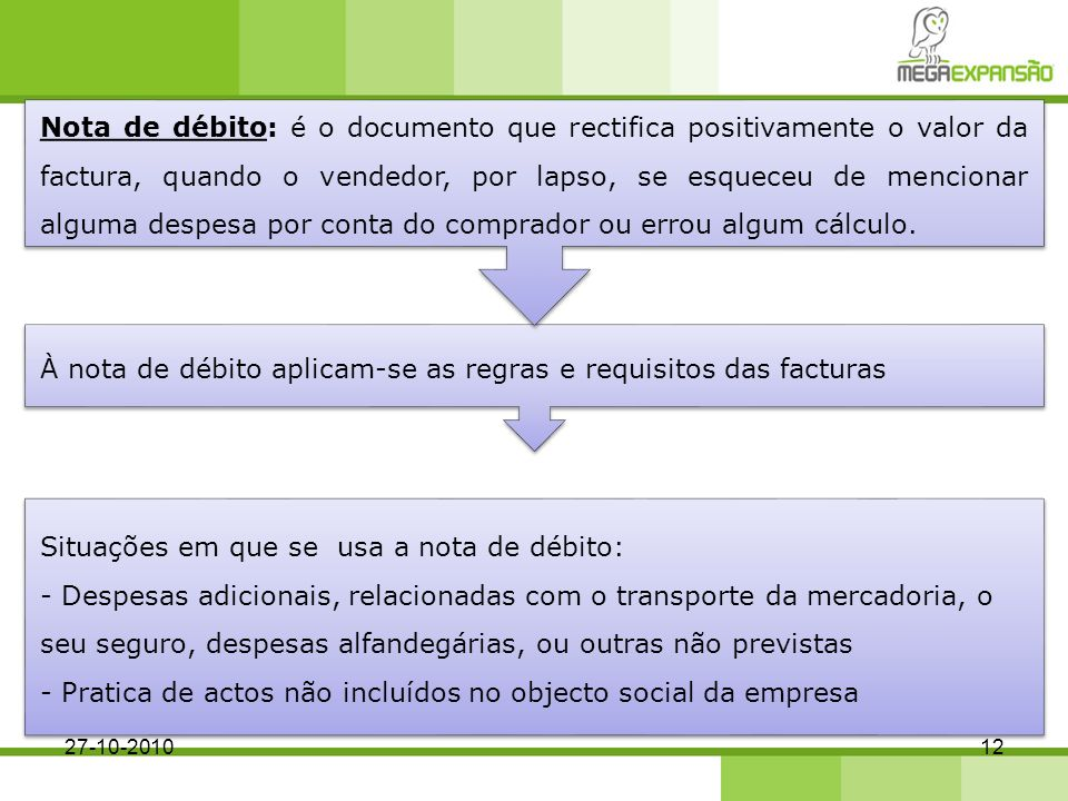 À nota de débito aplicam-se as regras e requisitos das facturas