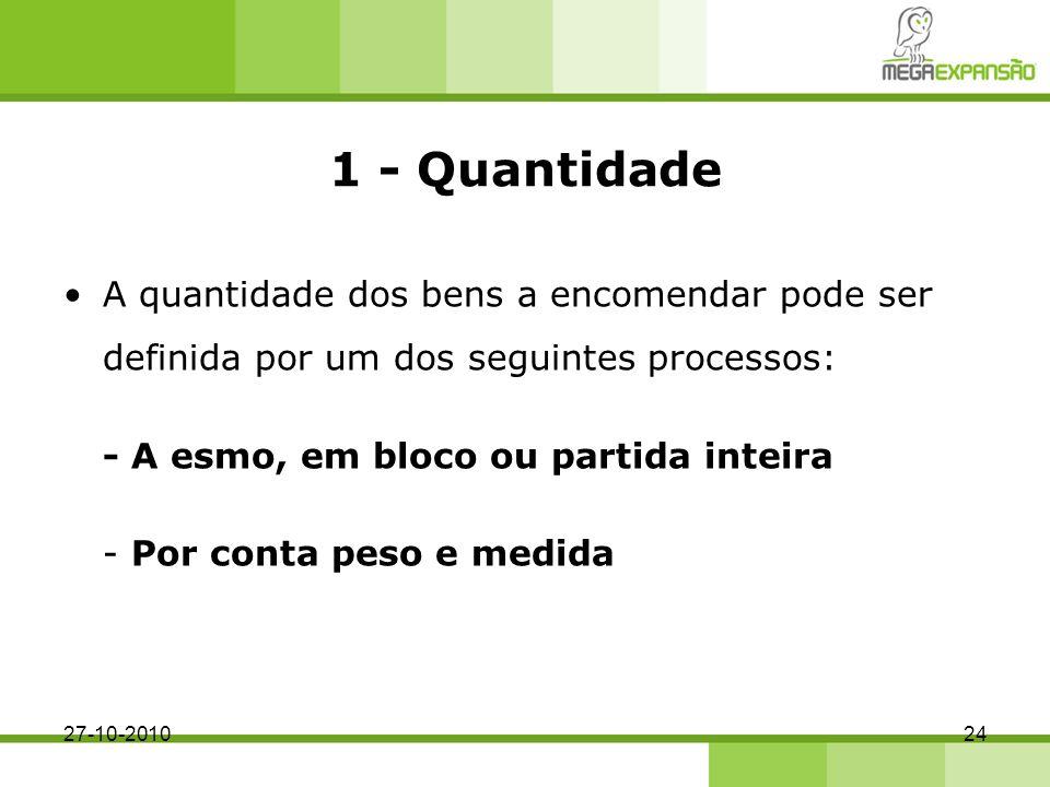 1 - Quantidade A quantidade dos bens a encomendar pode ser definida por um dos seguintes processos: