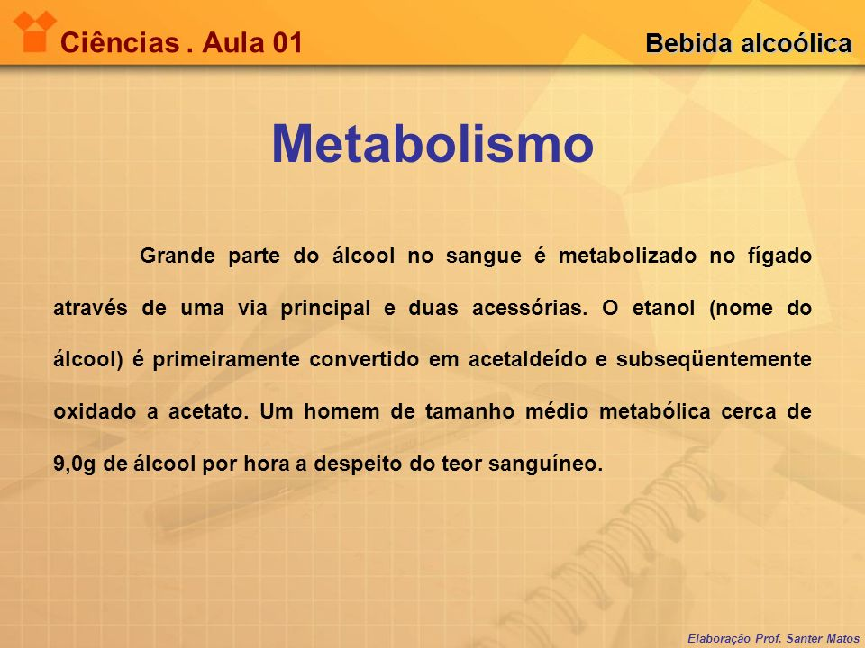 Metabolismo Ciências . Aula 01 Bebida alcoólica