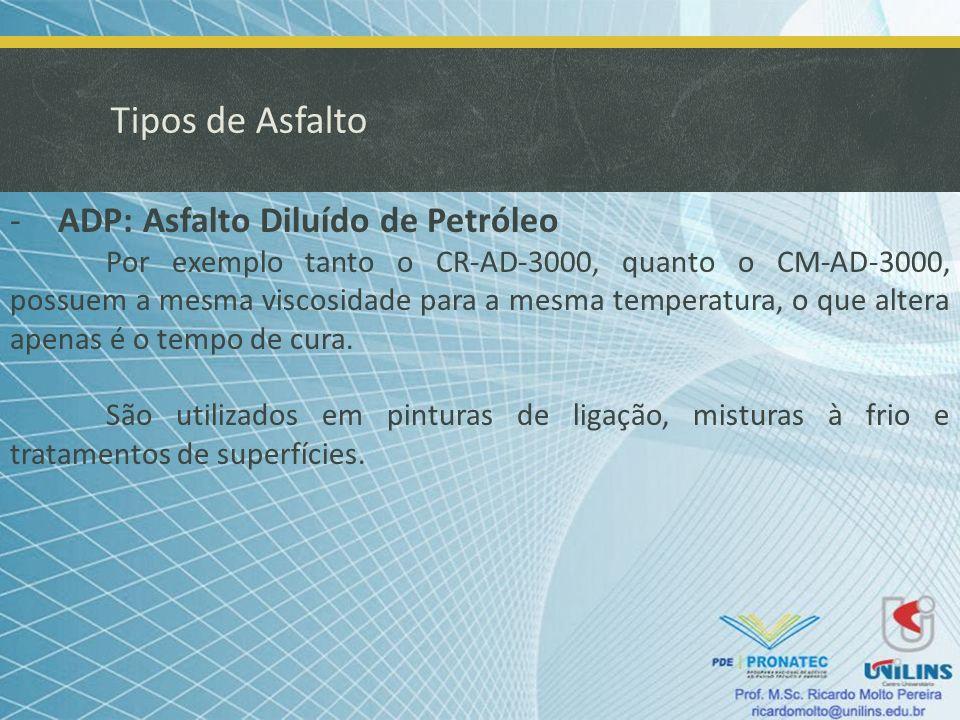 Tipos de Asfalto ADP: Asfalto Diluído de Petróleo