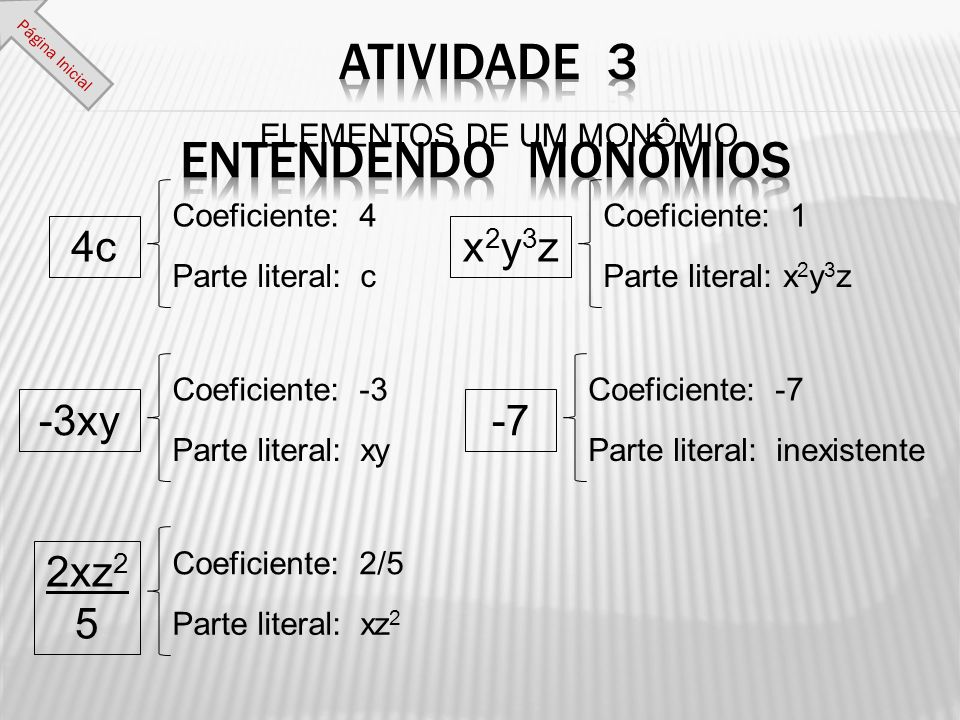 ELEMENTOS DE UM MONÔMIO