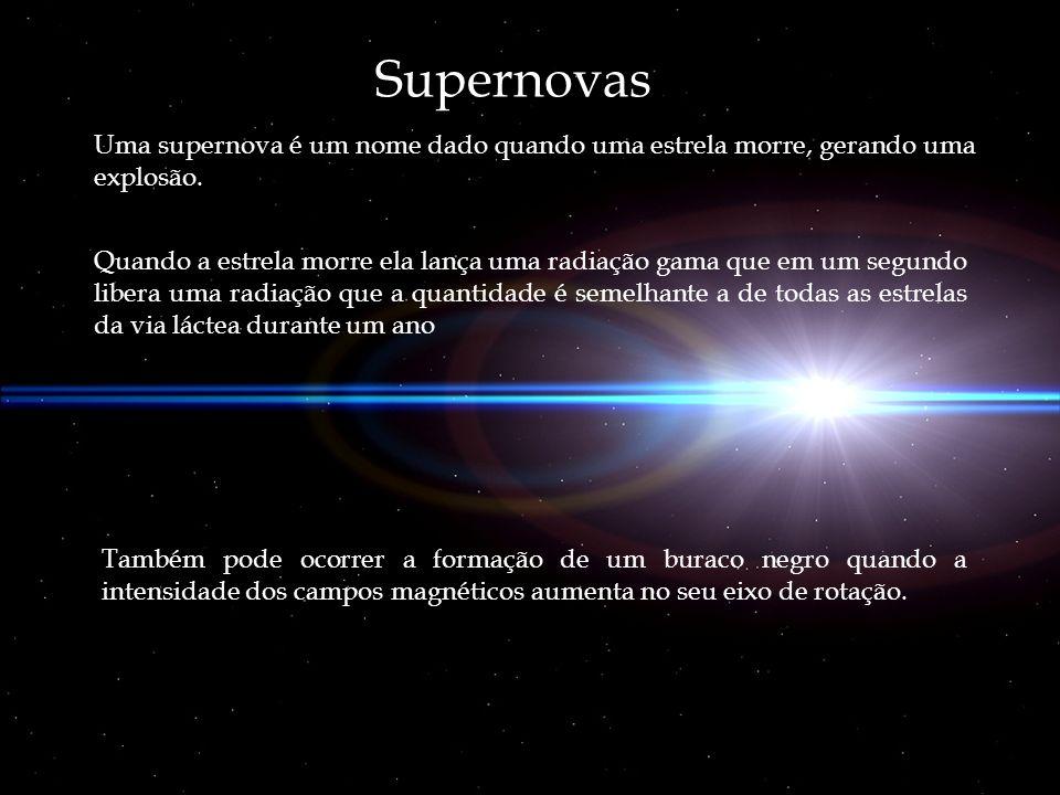 Supernovas Uma supernova é um nome dado quando uma estrela morre, gerando uma explosão.