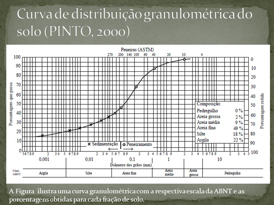 Curva de distribuição granulométrica do solo (PINTO, 2000)