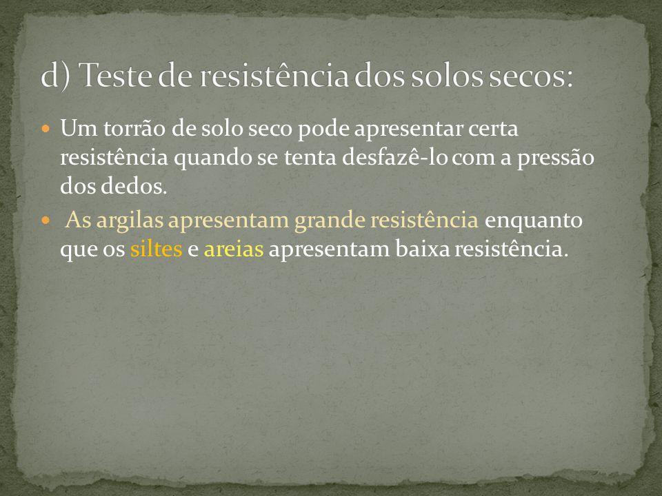 d) Teste de resistência dos solos secos: