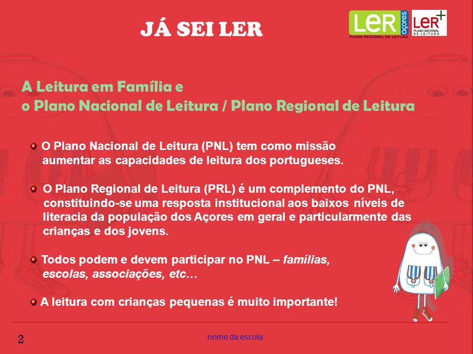 JÁ SEI LER A Leitura em Família e o Plano Nacional de Leitura / Plano Regional de Leitura. O Plano Nacional de Leitura (PNL) tem como missão.