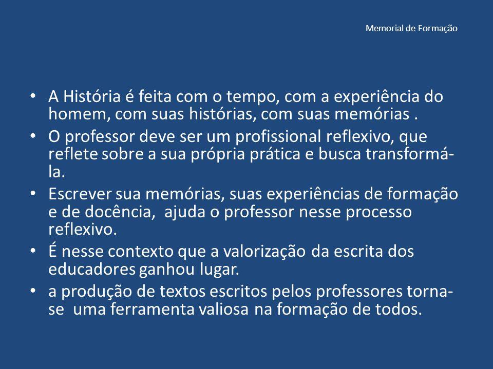 Memorial de Formação A História é feita com o tempo, com a experiência do homem, com suas histórias, com suas memórias .