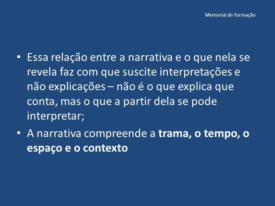 A narrativa compreende a trama, o tempo, o espaço e o contexto