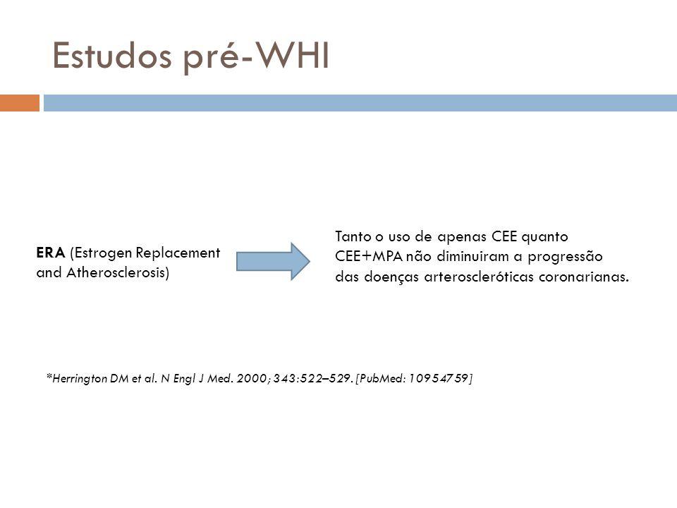Estudos pré-WHI Tanto o uso de apenas CEE quanto CEE+MPA não diminuiram a progressão das doenças arteroscleróticas coronarianas.