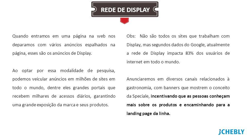 REDE DE DISPLAY Quando entramos em uma página na web nos deparamos com vários anúncios espalhados na página, esses são os anúncios de Display.
