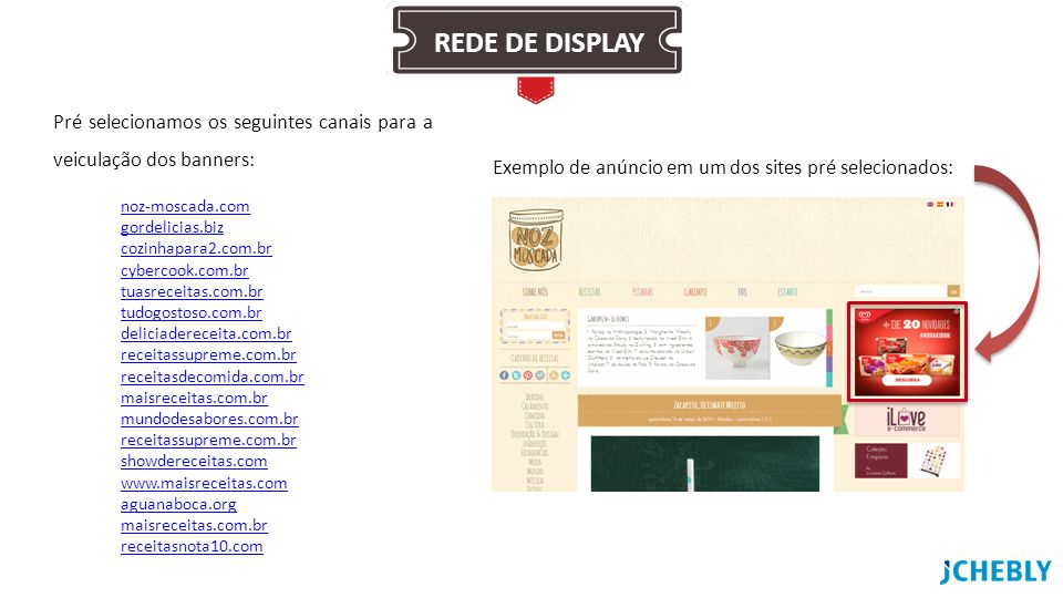 REDE DE DISPLAY Pré selecionamos os seguintes canais para a veiculação dos banners: Exemplo de anúncio em um dos sites pré selecionados: