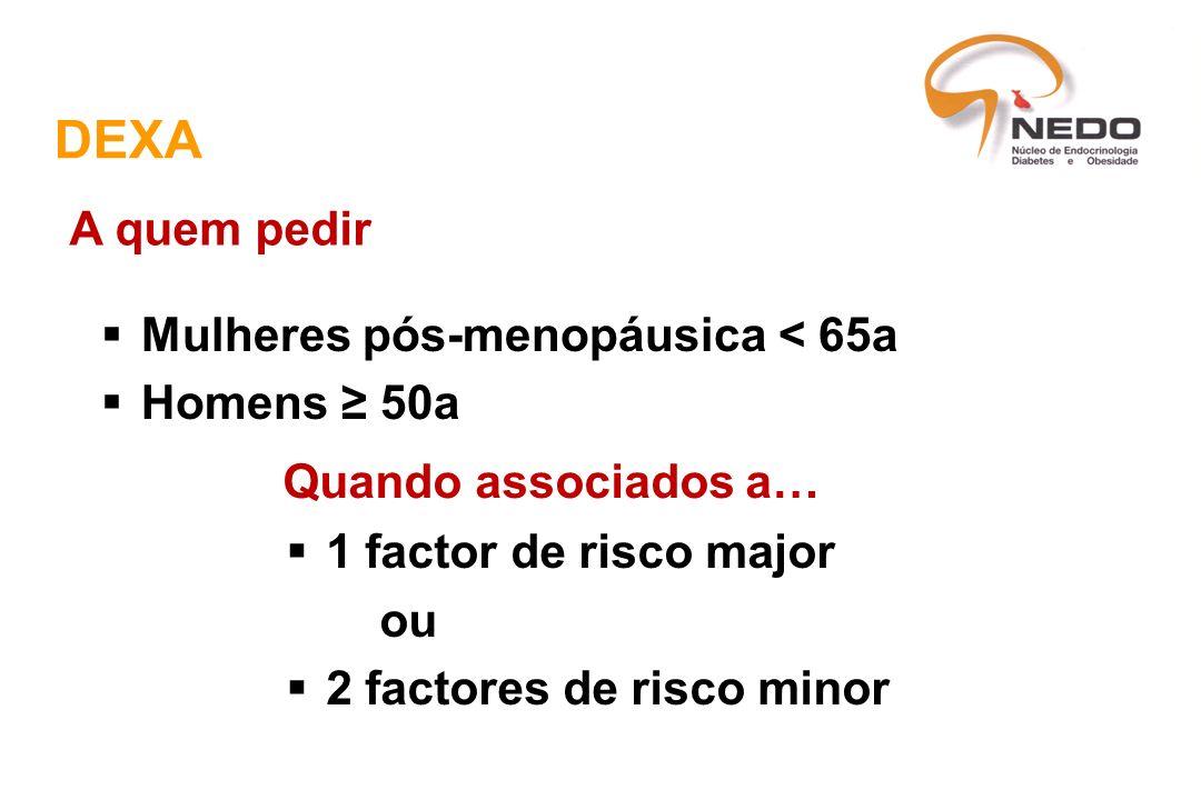 DEXA A quem pedir Mulheres pós-menopáusica < 65a Homens ≥ 50a