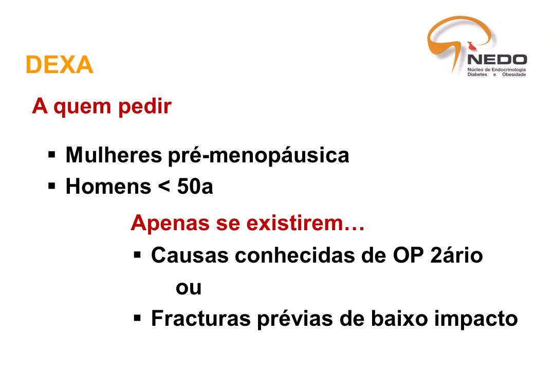 DEXA A quem pedir Mulheres pré-menopáusica Homens < 50a