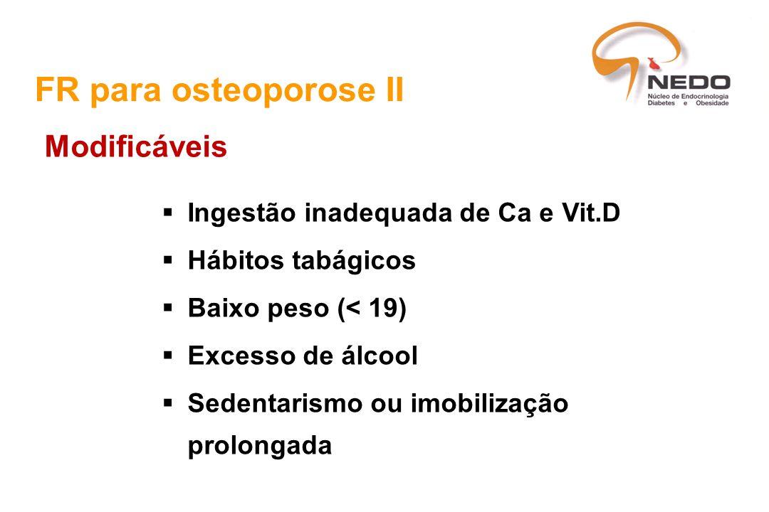 FR para osteoporose II Modificáveis Ingestão inadequada de Ca e Vit.D