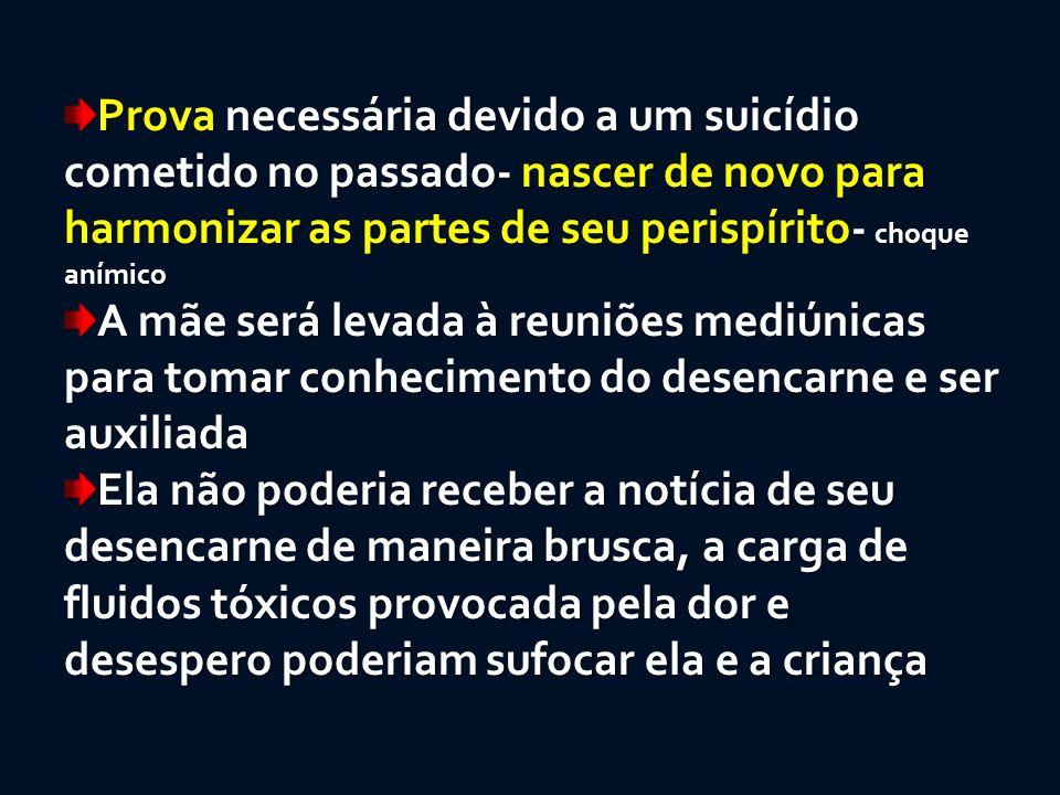 Prova necessária devido a um suicídio cometido no passado- nascer de novo para harmonizar as partes de seu perispírito- choque anímico