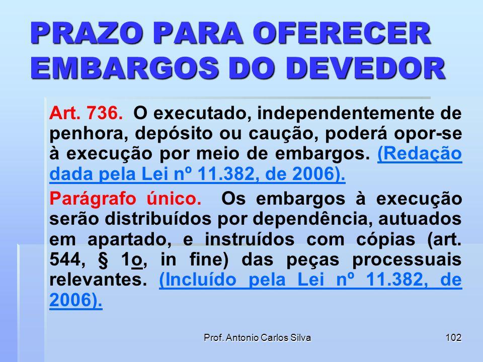 PRAZO PARA OFERECER EMBARGOS DO DEVEDOR