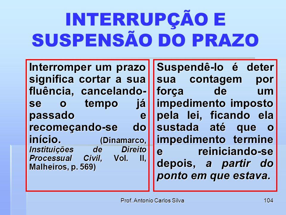 INTERRUPÇÃO E SUSPENSÃO DO PRAZO