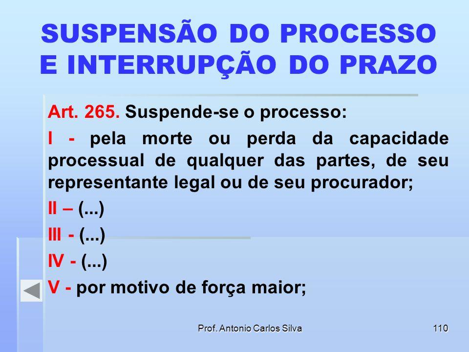 SUSPENSÃO DO PROCESSO E INTERRUPÇÃO DO PRAZO