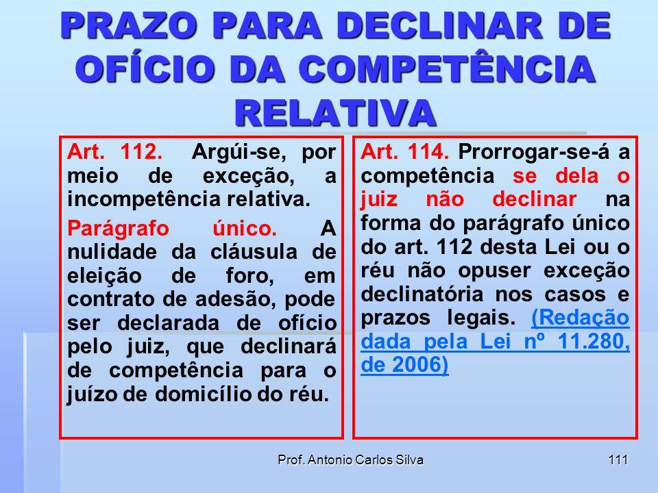 PRAZO PARA DECLINAR DE OFÍCIO DA COMPETÊNCIA RELATIVA