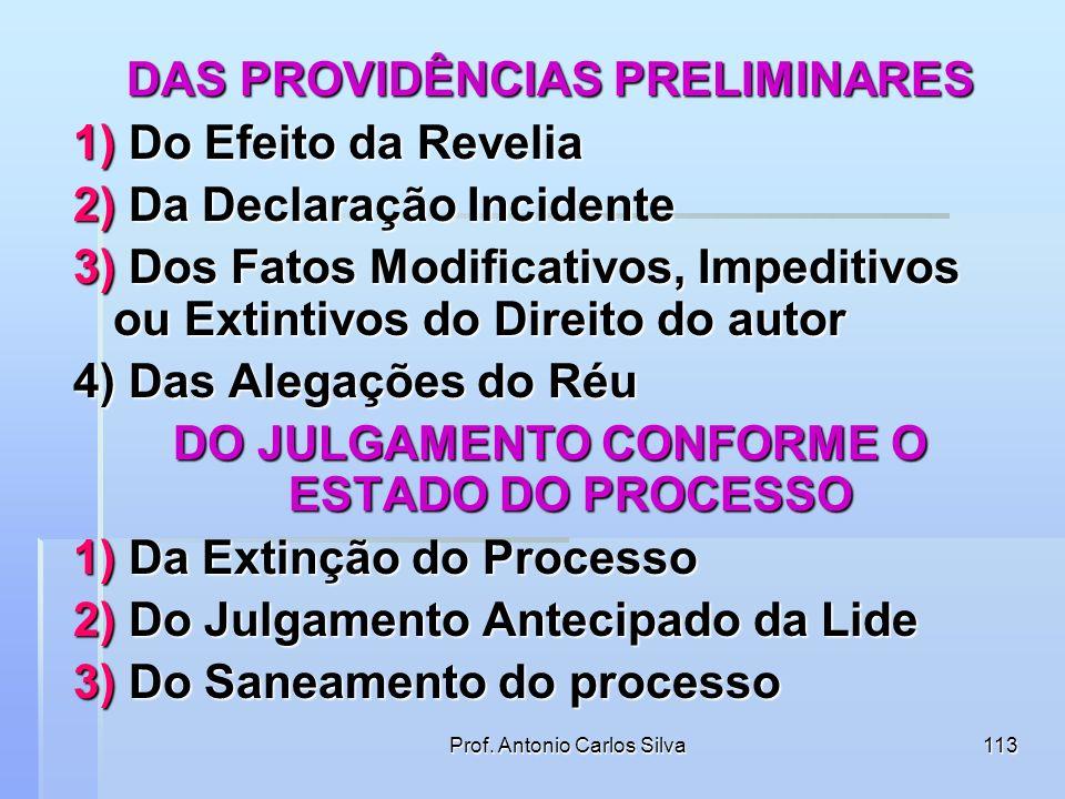 DAS PROVIDÊNCIAS PRELIMINARES 1) Do Efeito da Revelia