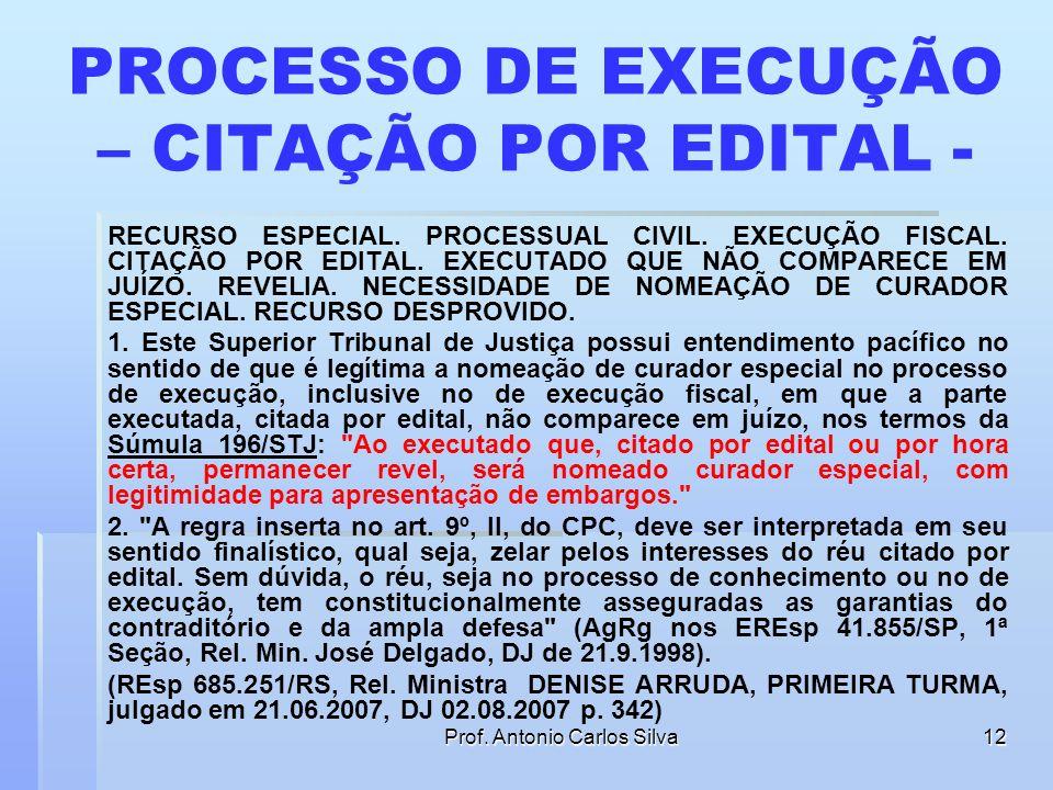PROCESSO DE EXECUÇÃO – CITAÇÃO POR EDITAL -
