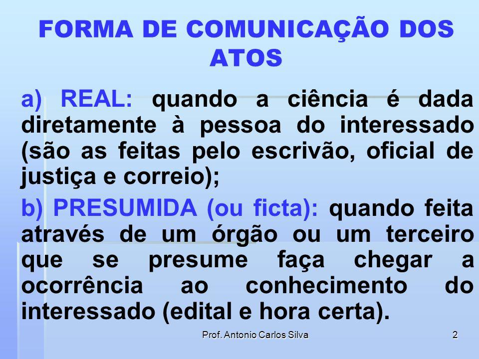 FORMA DE COMUNICAÇÃO DOS ATOS