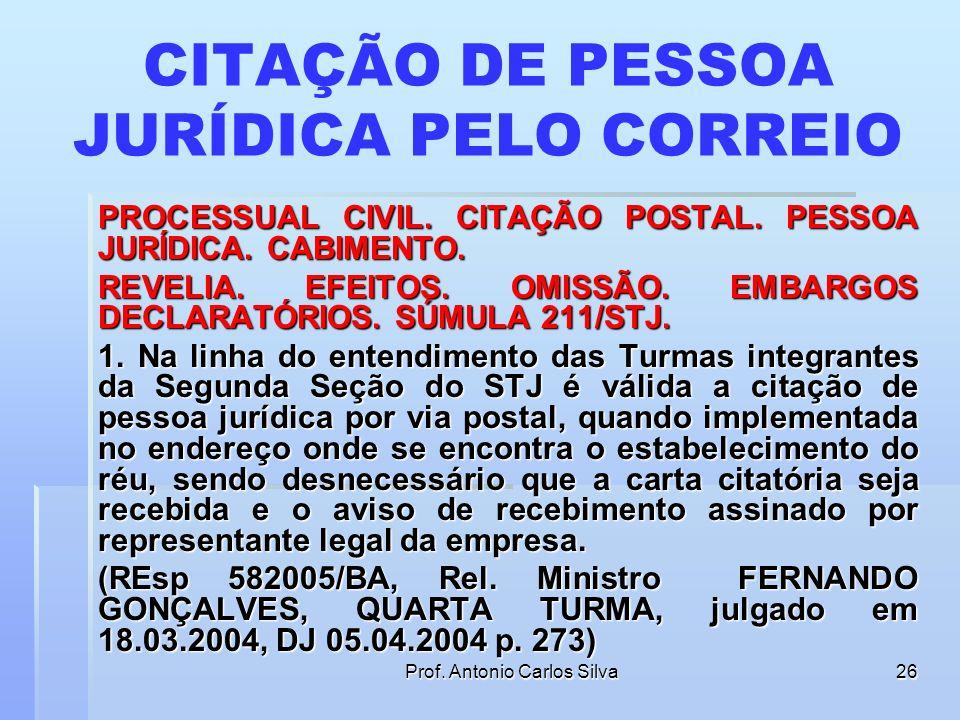CITAÇÃO DE PESSOA JURÍDICA PELO CORREIO