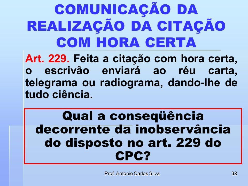 COMUNICAÇÃO DA REALIZAÇÃO DA CITAÇÃO COM HORA CERTA
