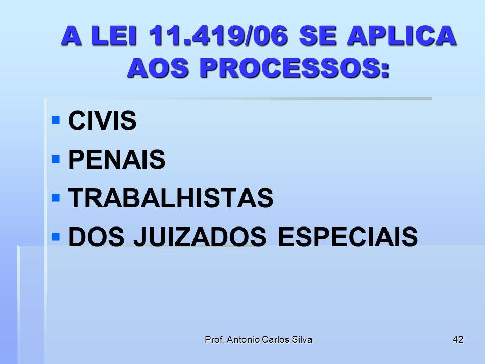 A LEI 11.419/06 SE APLICA AOS PROCESSOS:
