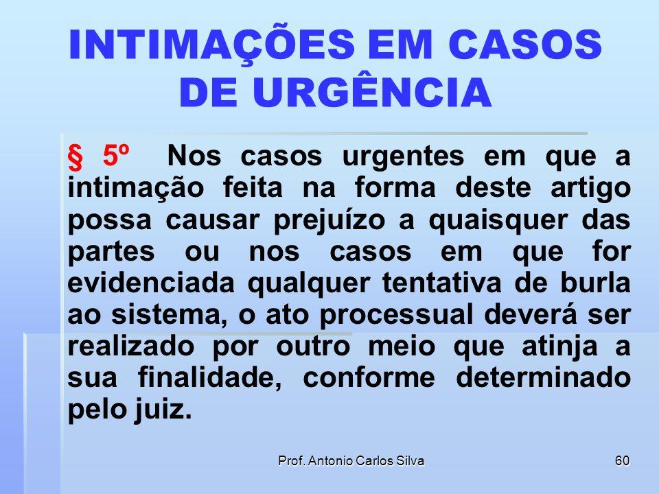 INTIMAÇÕES EM CASOS DE URGÊNCIA