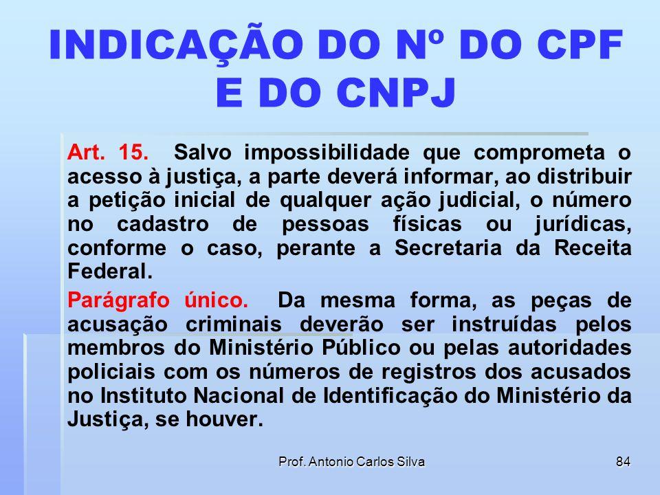 INDICAÇÃO DO Nº DO CPF E DO CNPJ