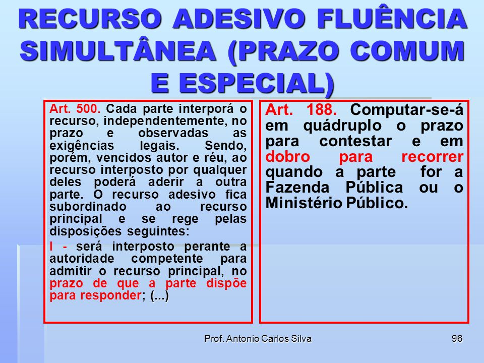 RECURSO ADESIVO FLUÊNCIA SIMULTÂNEA (PRAZO COMUM E ESPECIAL)