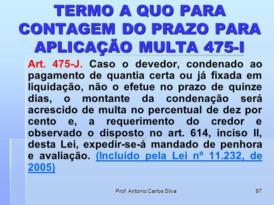 TERMO A QUO PARA CONTAGEM DO PRAZO PARA APLICAÇÃO MULTA 475-I