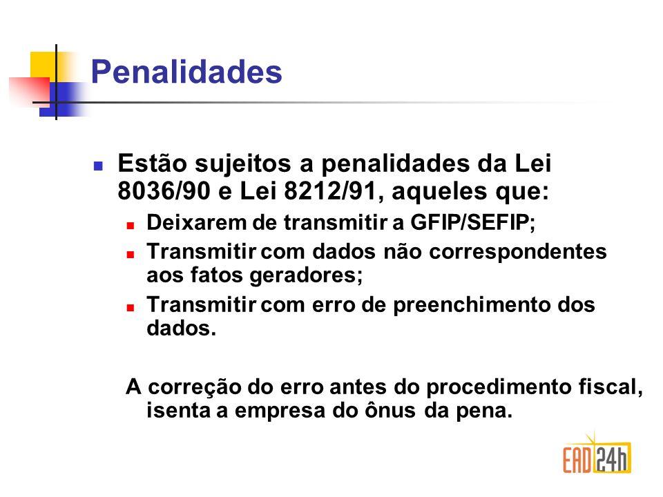 Penalidades Estão sujeitos a penalidades da Lei 8036/90 e Lei 8212/91, aqueles que: Deixarem de transmitir a GFIP/SEFIP;