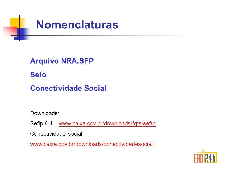 Nomenclaturas Arquivo NRA.SFP Selo Conectividade Social Downloads: