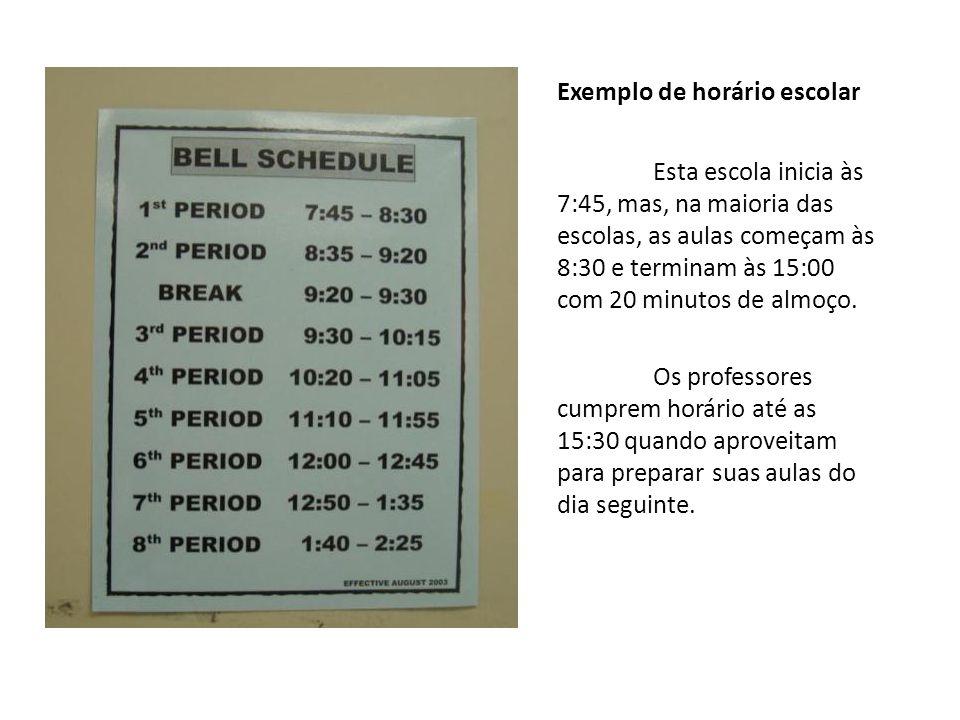 Exemplo de horário escolar