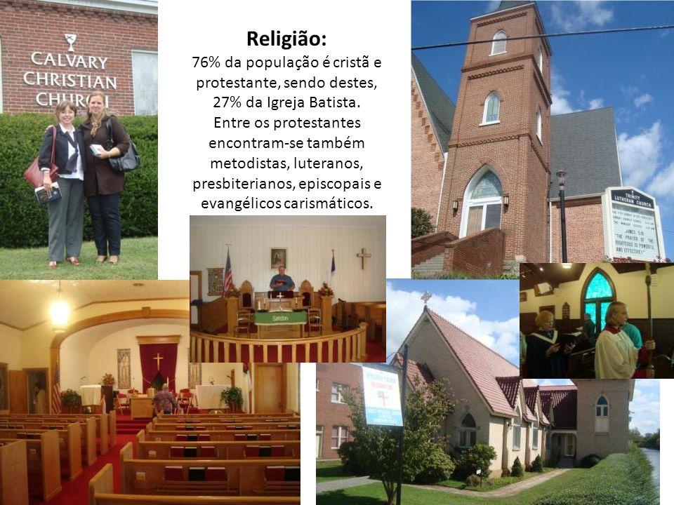 Religião: 76% da população é cristã e protestante, sendo destes, 27% da Igreja Batista.