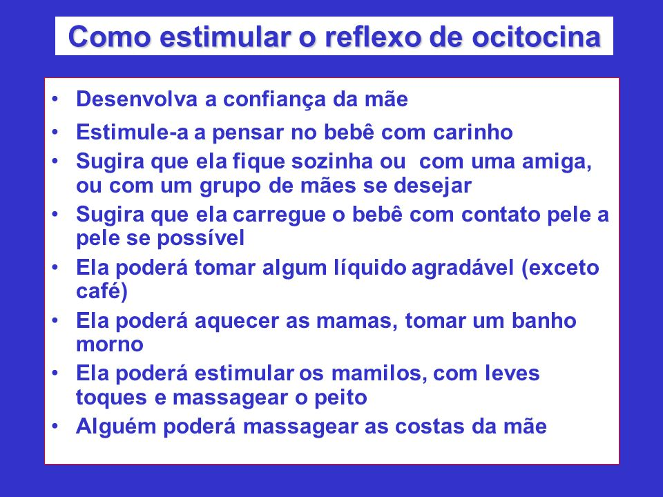 Como estimular o reflexo de ocitocina