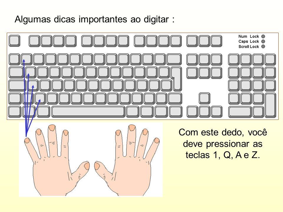 Com este dedo, você deve pressionar as teclas 1, Q, A e Z.