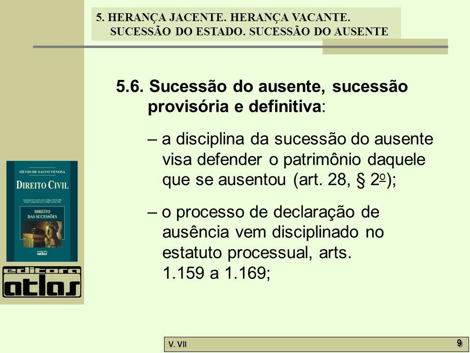 5.6. Sucessão do ausente, sucessão provisória e definitiva:
