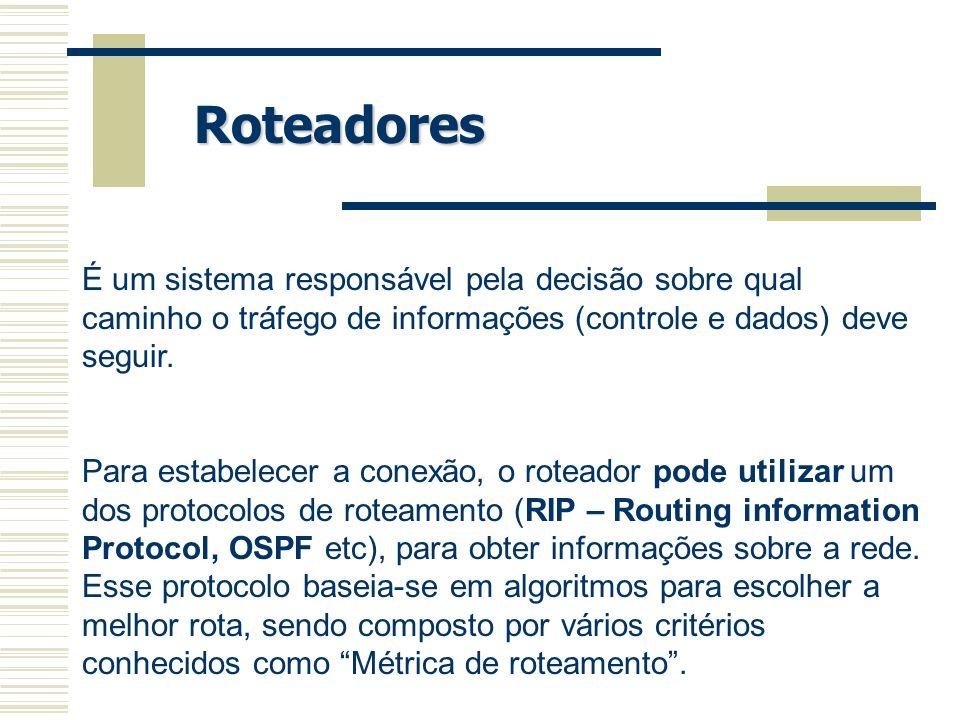 Roteadores É um sistema responsável pela decisão sobre qual caminho o tráfego de informações (controle e dados) deve seguir.