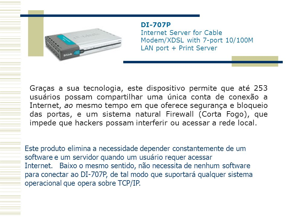 DI-707P Internet Server for Cable Modem/XDSL with 7-port 10/100M LAN port + Print Server
