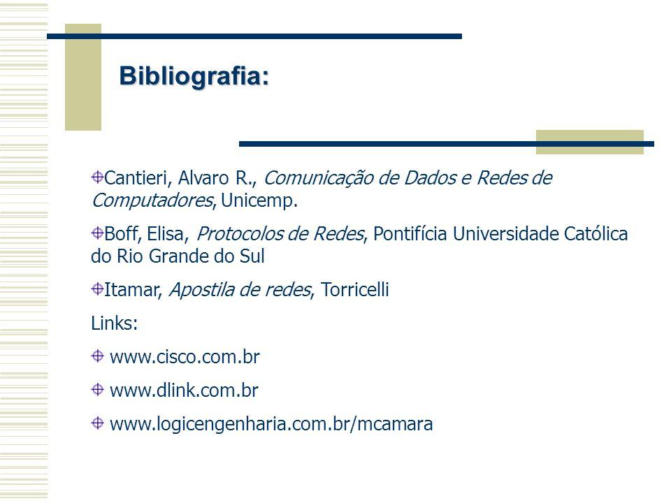 Bibliografia: Cantieri, Alvaro R., Comunicação de Dados e Redes de Computadores, Unicemp.
