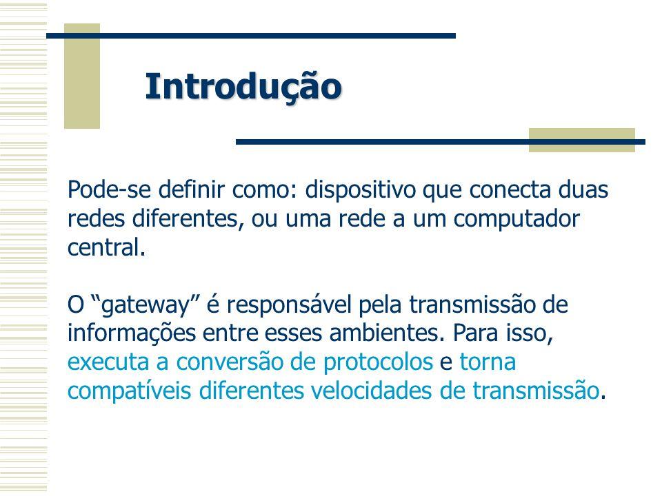 Introdução Pode-se definir como: dispositivo que conecta duas redes diferentes, ou uma rede a um computador central.