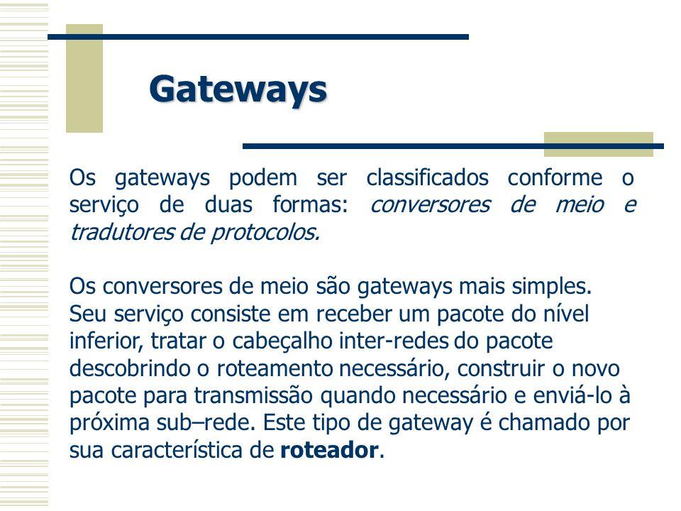 Gateways Os gateways podem ser classificados conforme o serviço de duas formas: conversores de meio e tradutores de protocolos.