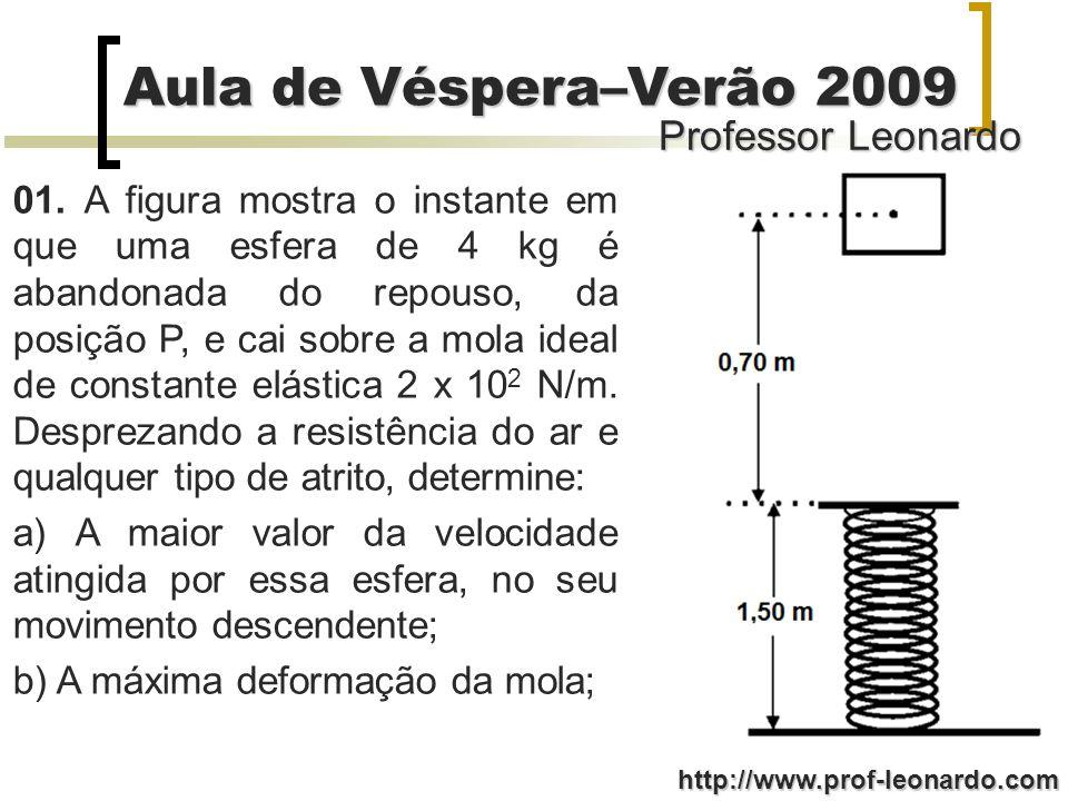 01. A figura mostra o instante em que uma esfera de 4 kg é abandonada do repouso, da posição P, e cai sobre a mola ideal de constante elástica 2 x 102 N/m. Desprezando a resistência do ar e qualquer tipo de atrito, determine: